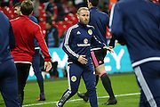 Scotland Barry Bannan in warm up during the FIFA World Cup Qualifier group stage match between England and Scotland at Wembley Stadium, London, England on 11 November 2016. Photo by Phil Duncan.