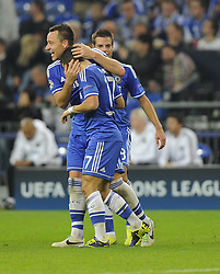 Chelsea's Eden Hazard is congratulated by Chelsea's John Terry - Photo mandatory by-line: Joe Meredith/JMP - Tel: Mobile: 07966 386802 22/10/2013 - SPORT - FOOTBALL - Veltins-Arena - Gelsenkirchen - FC Schalke 04 v Chelsea - CHAMPIONS LEAGUE - GROUP E