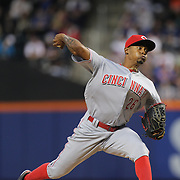 NEW YORK, NEW YORK - APRIL 25: Pitcher Raisel Iglesias #26 of the Cincinnati Reds pitching during the New York Mets Vs Cincinnati Reds MLB regular season game at Citi Field on April 25, 2016 in New York City. (Photo by Tim Clayton/Corbis via Getty Images)