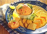 Alaska. Smoked salmon dip with cheese and crackers.