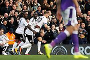 Fulham players celebrate a goal from Fulham midfielder Tom Cairney (10) (score 1-1) during the EFL Sky Bet Championship match between Fulham and Bolton Wanderers at Craven Cottage, London, England on 28 October 2017. Photo by Andy Walter.
