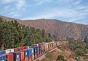 Freight Train Running Through Anaheim Hills