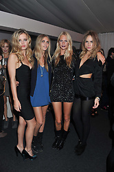 Left to right, GEORGIA MAY JAGGER, CLARA DELEVINGNE, POPPY DELEVINGNE and SUKI WATERHOUSE at a party hosted by Rimmel London to celebrate the 10 year partnership with Kate Moss held at Battersea Power Station, London SW8 on 15th September 2011.