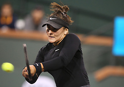 March 15, 2019 - Indian Wells, CA, U.S. - INDIAN WELLS, CA - MARCH 15: Bianca Andreescu (CAN) hits a backhand during the semifinals of the BNP Paribas Open on March 15, 2019, at the Indian Wells Tennis Gardens in Indian Wells, CA. (Photo by Adam Davis/Icon Sportswire) (Credit Image: © Adam Davis/Icon SMI via ZUMA Press)