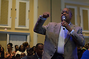 President Roderick McDavis says a few words about how talented everyone performing is at the Black Alumni Reunion Variety Show in Baker Ballroom on Saturday, September 17, 2016. © Ohio University / Photo by Kaitlin Owens