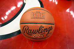 01 January 2009: Rawlings basketball featuring the Missouri Valley Conference logo. The game between the Creighton Bluejays and the Illinois State Redbirds ended with the Redbirds on top by a score of 63-43 on Doug Collins Court inside Redbird Arena on the campus of Illinois State University, Normal IL.