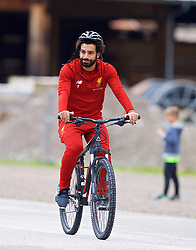 ROTTACH-EGERN, GERMANY - Friday, July 28, 2017: Liverpool's Mohamed Salah cycles to a training session at FC Rottach-Egern on day three of the preseason training camp in Germany. (Pic by David Rawcliffe/Propaganda)
