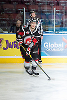 KELOWNA, CANADA - FEBRUARY 14: Tanner Eberle #22 of Moose Jaw Warriors warms up with the puck against the Kelowna Rockets on February 14, 2015 at Prospera Place in Kelowna, British Columbia, Canada.  (Photo by Marissa Baecker/Shoot the Breeze)  *** Local Caption *** Tanner Eberle;