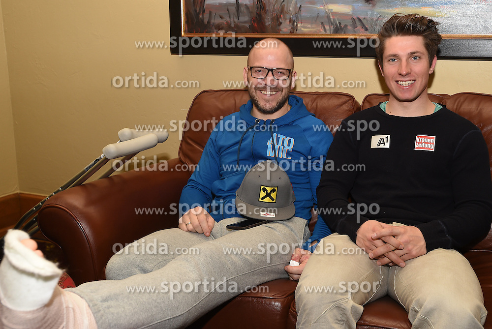 02.12.2015, The Charter, Beaver Creek, USA, FIS Weltcup Ski Alpin, Beaver Creek, ÖSV Pressekonferenz, im Bild v.l. Stefan Ilek (Mediensprecher ÖSV), Marcel Hirscher (AUT) // Stefan Ilek (Pressofficer ÖSV), Marcel Hirscher of Austria during a  press conference of Austrian Ski Association OeSV prior to the mens downhill of the Beaver Creek FIS Ski Alpine World Cup at the Birds of Prey Course in Beaver Creek, USA on 2015/12/02. EXPA Pictures © 2015, PhotoCredit: EXPA/ Erich Spiess