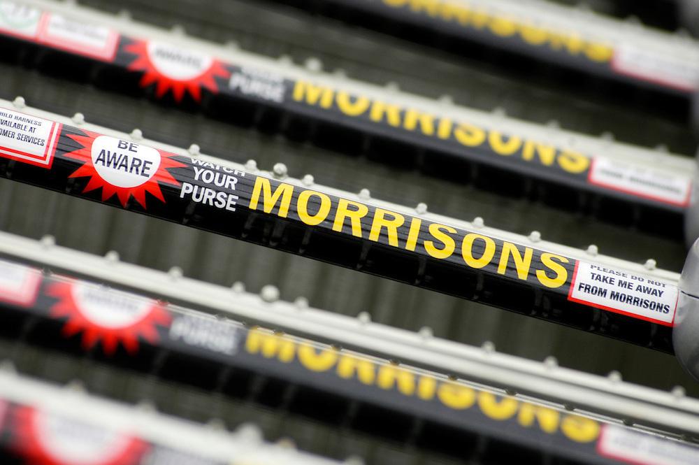 Morrisons supermarket shopping trolley handles, Leicester, England, United Kingdom.
