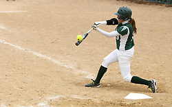 30 March 2013:  Allie Riordan at bat to win the game after hitting a single that scores Audra James during an NCAA Division III women's softball game between the DePauw Tigers and the Illinois Wesleyan Titans in Bloomington IL