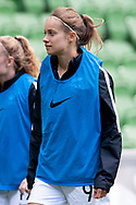 MELBOURNE, VIC - MARCH 06: Ali Riley (7) of New Zealand looks on as she goes to warm up during The Cup of Nations womens soccer match between New Zealand and Korea Republic on March 06, 2019 at AAMI Park, VIC. (Photo by Speed Media/Icon Sportswire)