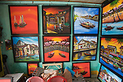 Souvenir paintings for tourists.
