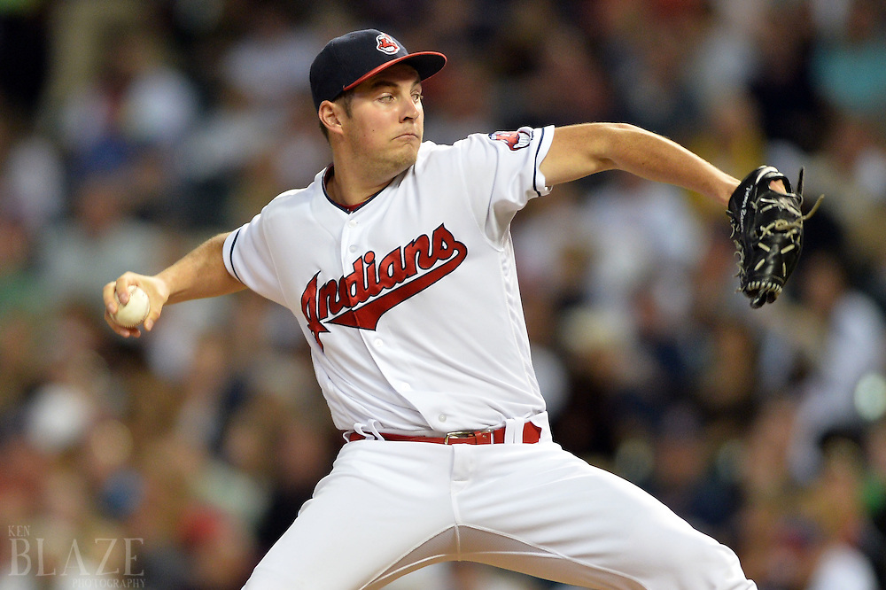 Sep 3, 2016; Cleveland, OH, USA; Cleveland Indians starting pitcher Trevor Bauer (47) throws a pitch  during the fourth inning against the Miami Marlins at Progressive Field. Mandatory Credit: Ken Blaze-USA TODAY Sports