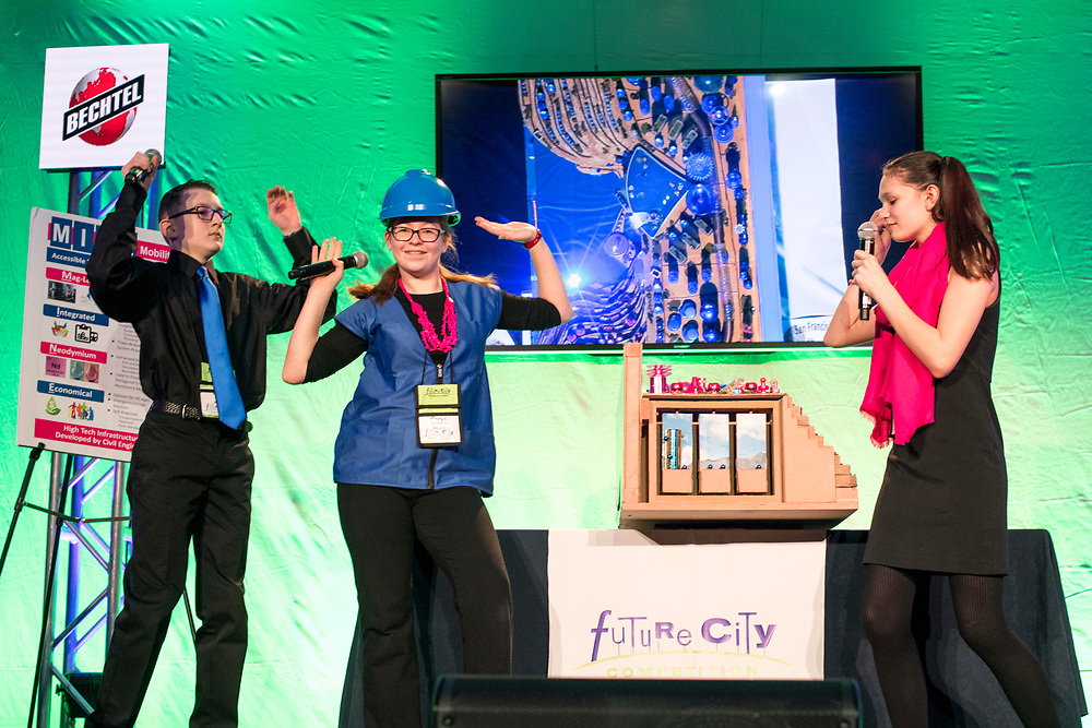 Washington, D.C. - February 20, 2018: The Future City Competition team members from St. John Lutheran School in Michigan (L-R) Ethan Dodson, Reagan Rutkowski, and Sloane Kerska, present &quot;Copper City&quot; during the Future City Competition Finals at the Hyatt Regency Washington on Capitol Hill in Washington, D.C., Tuesday, Feb. 20, 2018.<br /> <br /> They finished second overall. <br /> <br /> <br /> CREDIT: Matt Roth