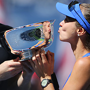 2017 U.S. Open Tennis Tournament - DAY THIRTEEN. Martina Hingis of Switzerland and Jamie Murray of Great Britain with the trophy after winning the Mixed Doubles Final against Hao-Ching Chan of Chinese Taipei and Michael Venus of New Zealand at the US Open Tennis Tournament at the USTA Billie Jean King National Tennis Center on September 09, 2017 in Flushing, Queens, New York City.  (Photo by Tim Clayton/Corbis via Getty Images)
