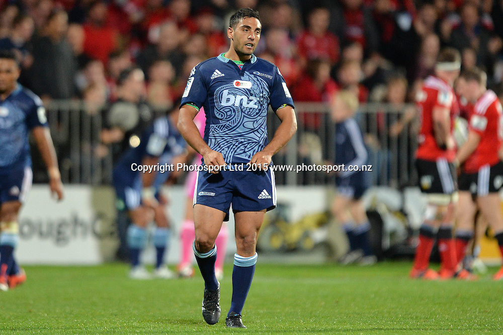 Dan Bowden of the Blues reacts during the Investec Super Rugby match between the Crusaders and Blues at AMI Stadium in Christchurch, New Zealand. 25 April 2015. Photo: Kai Schwoerer / www.photosport.co.nz