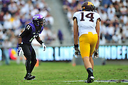 FORT WORTH, TX - SEPTEMBER 13:  Ranthony Texada #11 of the TCU Horned Frogs lines up against the Minnesota Golden Gophers on September 13, 2014 at Amon G. Carter Stadium in Fort Worth, Texas.  (Photo by Cooper Neill/Getty Images) *** Local Caption *** Ranthony Texada