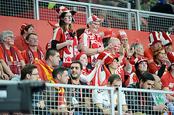 Fans of Denmark during handball match between National teams of Macedonia and Denmark on Day 7 in Main Round of Men's EHF EURO 2018, on January 24, 2018 in Arena Varazdin, Varazdin, Croatia. Photo by Mario Horvat / Sportida