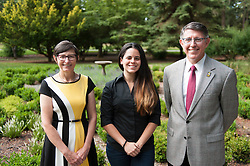 Jessica Milian, President Krise, and Patty Krise at Gonyea House in front of the Rose Window Garden on 8/5/2015 (Photo/John Struzenberg '16)