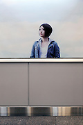 portrait of the Japanese female singer Utada Hikaru poster in subway