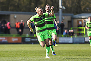 Forest Green Rovers Joseph Mills(23) scores a goal 2-0 and celebrates during the EFL Sky Bet League 2 match between Forest Green Rovers and Macclesfield Town at the New Lawn, Forest Green, United Kingdom on 13 April 2019.
