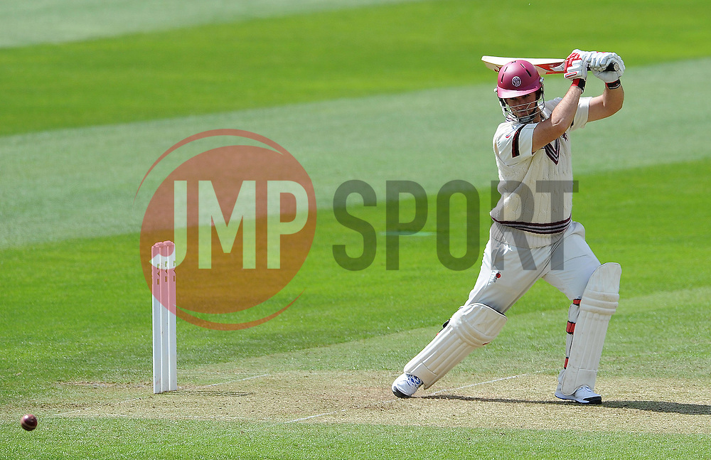 Somerset's Jim Allenby cuts the ball Photo mandatory by-line: Harry Trump/JMP - Mobile: 07966 386802 - 09/05/15 - SPORT - CRICKET - Somerset v New Zealand - Day 2- The County Ground, Taunton, England.