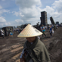 August 27,2017,   Mont  Fuji annual military drill,anti ship  Middle range and long range  missile launcher type 12 stationned at Japan ground  self defense force  base near Fuji mont .Pierre Boutier