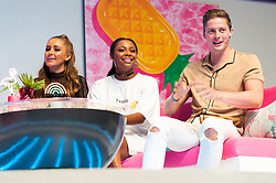 © Licensed to London News Pictures. 10/08/2018. London, UK. Georgia Steel, Samira Mighty and Dr. Alex George attends Love Island Live event at the Excel Center. Photo credit: London News Pictures