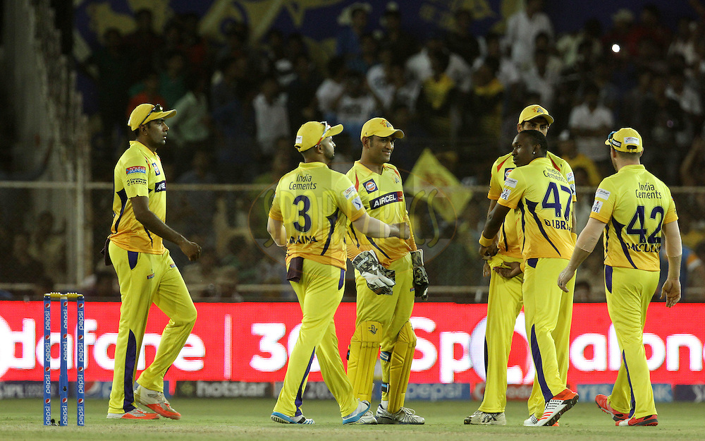 Chennai Super Kings celebrates the wicket of Rajasthan Royals player Steven Smith during match 15 of the Pepsi IPL 2015 (Indian Premier League) between The Rajasthan Royals and The Chennai Super Kings held at the Sardar Patel Stadium in Ahmedabad , India on the 19th April 2015.<br /> <br /> Photo by:  Vipin Pawar / SPORTZPICS / IPL