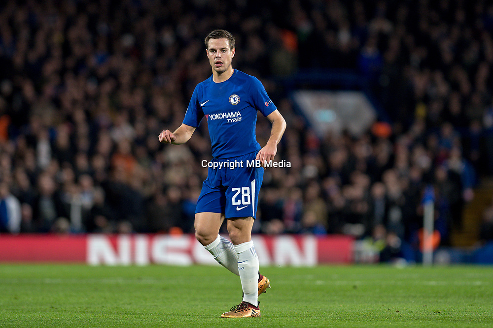 LONDON,ENGLAND - DECEMBER 05: Chelsea (28) César Azpilicueta during the UEFA Champions League group C match between Chelsea FC and Atletico Madrid at Stamford Bridge on December 5, 2017 in London, United Kingdom.  <br /> ( Photo by Sebastian Frej / MB Media )