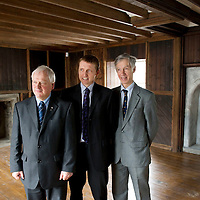 Re-Generation and Re-Development of the Fair Maids House in Perth which has lain empty for over 15 years by the Royal Scottish Geographical Society who have secured funding from a number of sources to enable the restoration to take place....08.02.11   Pictured RSGS Chief Executive Mike Robinson (centre) with Cllr Ian Miller (front) and Mark Webster Chairman of the Gannochy Trust in the restored house<br /> Picture by Graeme Hart.<br /> Copyright Perthshire Picture Agency<br /> Tel: 01738 623350  Mobile: 07990 594431