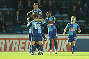 GOAL Bryn Morris is congratulated after opening the scoring 1-0 during the EFL Sky Bet League 1 match between Wycombe Wanderers and Rochdale at Adams Park, High Wycombe, England on 23 October 2018.