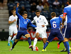 Mario Rodriguez of USA U23 tackles Ruben Loftus-Cheek of England U21  - Mandatory byline: Matt McNulty/JMP - 07966386802 - 03/09/2015 - FOOTBALL - Deepdale Stadium -Preston,England - England U21 v USA U23 - U21 International