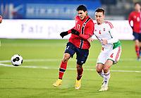 Fotball , 13. oktober 2014 , U21 , Norge - Ungarn<br /> Norway - Hungary<br /> Mohammed Elyounoussi , Norge<br /> Marton Lorentz , Ungarn