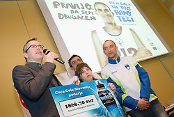 Uros Kanduc of Coca-Cola Hellenic Slovenija, Ljubomir Milicevic, Larisa Bitici (CIRIUS Vipava) and Andrej Rauh (CUDV Crna) during press conference of Special olympic team of Slovenia before departure to Special Olympics PyeongChang 2013 in South Korea on January 24, 2013 in Hotel Mons, Ljubljana, Slovenia. he next Special Olympics World Games take place in PyeongChang, South Korea, 29 January to 5 February 2013. (Photo by Vid Ponikvar / Sportida.com)
