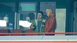 LIVERPOOL, ENGLAND - Wednesday, January 20, 2016: Liverpool's former Chief Executive Rick Parry with Andrew Heaton from the Anfield Wrap during the FA Cup 3rd Round Replay match against Exeter City at Anfield. (Pic by David Rawcliffe/Propaganda)