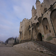 A misty morning at the Palace of the Popes. Impregnable as a defensive fortress, the Palace was no longer the seat of the Church once reunification was complete and the Papacy moved back to Rome.