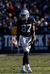 OAKLAND, CA - DECEMBER 09: Tight end Jared Cook #87 of the Oakland Raiders lines up for a play against the Pittsburgh Steelers during the second quarter at the Oakland Coliseum on December 9, 2018 in Oakland, California. The Oakland Raiders defeated the Pittsburgh Steelers 24-21. (Photo by Jason O. Watson/Getty Images) *** Local Caption *** Jared Cook