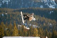 Each year Mount Washington hosts the Slopeside competition whereby participants perform maneuvers and compete in the biggest air competition for bragging rights.  Mount Washington, Comox Valley, Vancouver Island, British Columbia, Canada.