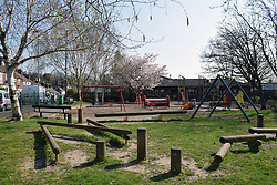 Empty children's playground during Coronavirus lockdown, Norwich UK April 2020