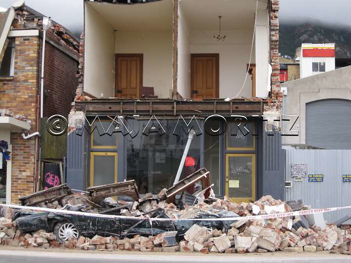 Devastation in Lyttelton where the epicenter of this earthquake was located