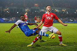 Derrick Williams of Bristol City is challenged by Aaron McLean of Peterborough United - Photo mandatory by-line: Rogan Thomson/JMP - 07966 386802 - 28/11/2014 - SPORT - FOOTBALL - Peterborough, England - ABAX Stadium - Peterborough United v Bristol City - Sky Bet League 1.