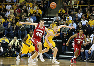 January 19 2013: Wisconsin Badgers forward/center Jared Berggren (40) and Iowa Hawkeyes forward Aaron White (30) battle for a lose ball during the first half of the NCAA basketball game between the Wisconsin Badgers and the Iowa Hawkeyes at Carver-Hawkeye Arena in Iowa City, Iowa on Sautrday January 19 2013. Iowa defeated Wisconsin 70-66.