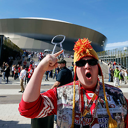 Feb 3, 2013; New Orleans, LA, USA; San Francisco 49ers fan Willie Leavy poses for a photo before Super Bowl XLVII against the Baltimore Ravens at the Mercedes-Benz Superdome. Mandatory Credit: Derick E. Hingle-USA TODAY Sports