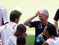Photo: Chris Ratcliffe.<br /> England Training Session. FIFA World Cup 2006. 24/06/2006.<br /> David Beckham and Sven Goran Eriksson in training.