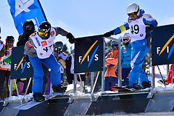 Snowboarder Cross Action, FLEMING Dustin, USA, CODINA THOMATIS Carlos Javier, ARG at the 2016 IPC Snowboard Europa Cup Finals and World Cup
