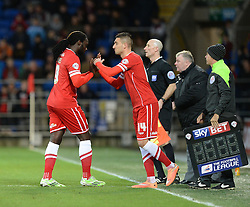 Cardiff City's Federico Macheda replaces Cardiff City's Kenwyne Jones - Photo mandatory by-line: Alex James/JMP - Mobile: 07966 386802 - 06/12/2014 - SPORT - Football - Cardiff - Cardiff City Stadium  - Cardiff City v Rotherham United  - Football