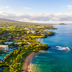Maui Hawaii aerial drone photo of Wailea-Makena coastline beaches including Mokapu Beach, Ulua Beach and Wailea Beach along the Pacific Ocean. Copyright ⓒ 2019 Paul Velgos with All Rights Reserved.