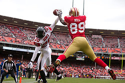 October 11, 2009; San Francisco, CA, USA;  Atlanta Falcons cornerback Brent Grimes (20) breaks up a pass intended for San Francisco 49ers wide receiver Jason Hill (89) in the end zone in the fourth quarter at Candlestick Park. Atlanta won 45-10.